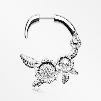 A Pair of Classic Sunflower Fake Hanging Taper Earring
