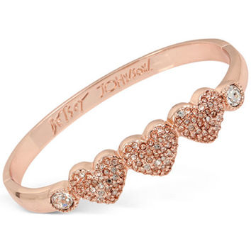 Betsey Johnson Rose Gold-Tone Triple Heart Pavé Bangle Bracelet - Jewelry & Watches - Macy's