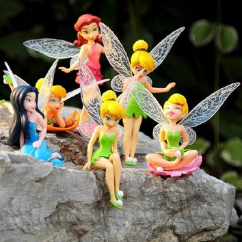 6pcs/Set  Tinkerbell Dolls Flying Flower Fairy Children Toys