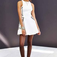 Keepsake Empty Words Beaded Fit + Flare Dress- Ivory