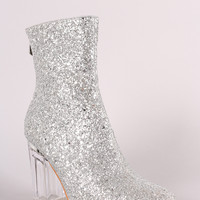 Glitter Chunky Lucite Heeled Ankle Boots