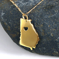 Georgia Necklace - 18K Gold Plated Necklace - Gold State Necklace - State Charm - I heart Georgia - I love Georgia