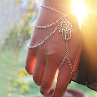 Sliver Multilayer Chain Khamsa Finger Ring Bracelet