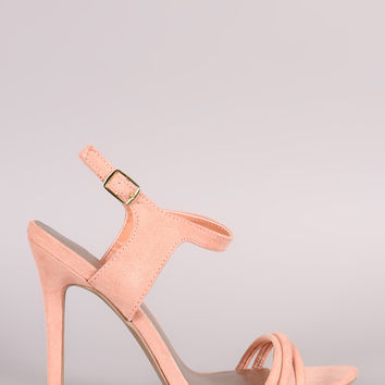 Qupid Suede Ankle Strap Sinlge Sole Heel