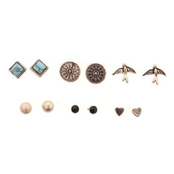 With Love From CA Sun Bird Earring 6 Pack Set - Womens Jewelry - Gold - One