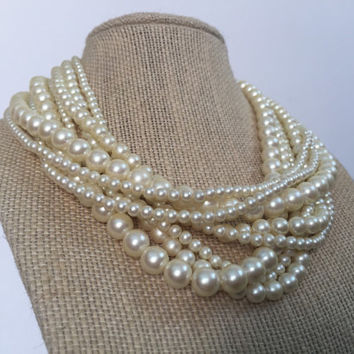 Multi Strand Pearls, Vintage Pearls, Faux Pearls Necklace, Audrey Hepburn Pearls, Vintage 50s Pearl Necklace, Short Pearls Faux Pearl Choker