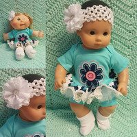 "Baby Doll Clothes ""Big Blue Blossom"" (15 inch) doll outfit Will fit Bitty Baby® Bitty Twins®  dress shorts socks headband"