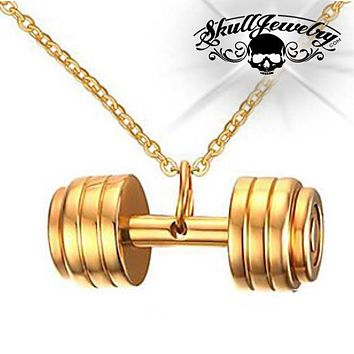Gold-tone 'Deadlift' Dumbbell Pendant (p421Gold)