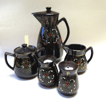 Vintage Brown Glazed Redware Teapot Creamer Sugar Salt & Pepper with Moriage Style painted flowers Set of 5