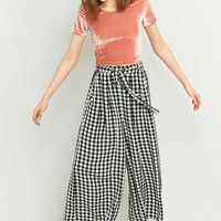 Light Before Dark Black Gingham Wide Leg Culottes - Urban Outfitters