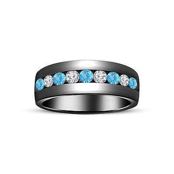 Black Gold On Sterling Silver Aquamarine/White Diamond Wedding Band Ring For All