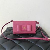 Prada Saffiano Fiocco Ibisco (Pink) Bow Wallet on Strap