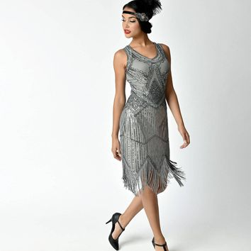 Unique Vintage 1920s Grey Beaded Sequin Juliette Fringe Flapper Dress