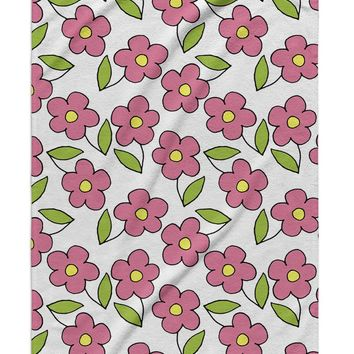 PINK FLOWER PATTERN ON WHITE Beach Towel By Northern Whimsy