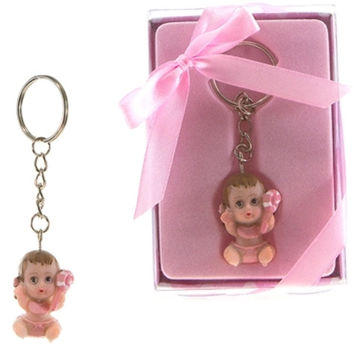 Baby Holding onto Pacifier Key Chain - Pink - 48 Units