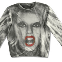 LADY GAGA - BITCH ALL-OVER PRINT WHITE CREWNECK SWEATSHIRT NEW OFFICIAL JUNIORS