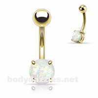 White Opal Prong Set Gold Belly Ring Body Jewelry 14ga Navel Ring 316L Surgical Steel