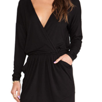 Black V-Neck Long Sleeve Mini Dress with Pocket