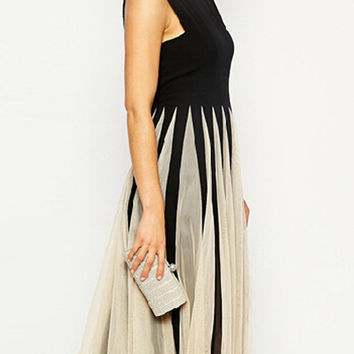 Black Slit Back Panel Skater Midi Dress