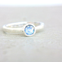Moonstone Engagement Ring Rainbow Moonstone Ring Blue Moonstone Ring Sterling Silver Stacking Promise Ring Size 7 June Birthstone
