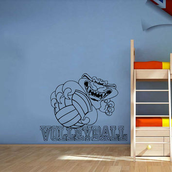Panther With Volleyball Text Vinyl Decals Wall Sticker Art Design Kids Children Nursery Room Nice Picture Home Decor Interior ki316