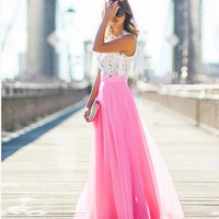 Women Fashion Stretch High Waist Maxi Skirt Skater Flared Pleated Pure Color Summer Chiffon Long Skirts