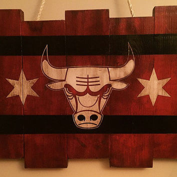 Chicago Bulls Small Wooden Stained Flag; Handpainted; Chicago Flag; Basketball Decor; Mancave; NBA; Wood Sign; Wood Wall Art; Birthday Gift;