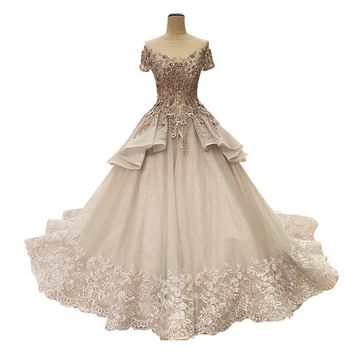 Grey Flowers Pearls Train Wedding Dresses Lace Bridal Wedding Gowns