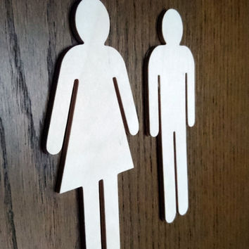 Birch Plywood WC Sign for Men and Woman Restroom 10-25cm high 4mm thick , Bathroom sign, Restaurant decor, Environmental Friendly materials