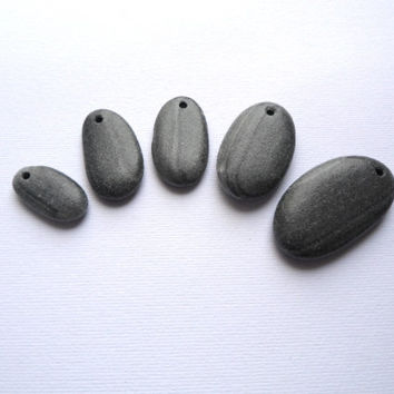 Five Dark Drilled Pebbles, Stone Set, Beach Jewelry
