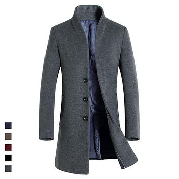 Classical Long Mens Coat Autumn Wool & Blends