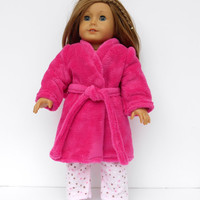 18 Inch Doll Clothes, Robe, Bright Pink Robe, Fuchsia Bathrobe, Spa Robe
