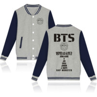 """BTS"" print long sleeve coat Button women and man gray"