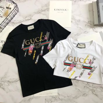 """""""Gucci"""" Unisex Casual Fashion Personality Meteor Sequin Letter Print Short Sleeve Couple T-shirt Top Tee"""