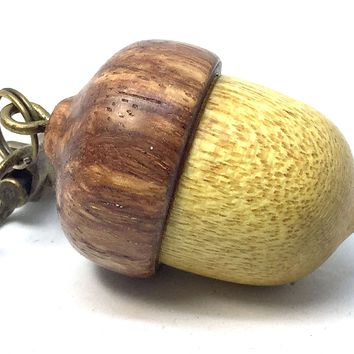 LV-4318 Acorn Pendant Box, Charm, Pill Holder from Yellowheart & Nigerian Rosewood -SCREW CAP