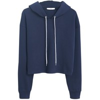 Mango Cropped Cotton Hoodie, Navy