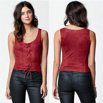 Red Strap Closure Sleeveless Suede T-Shirt
