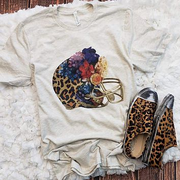 Floral Leopard Football Graphic Tee (S-2XL)