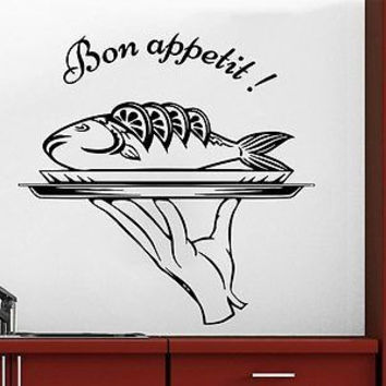 Wall Decal Bon Appetit Vinyl Sticker Fish Dish Food Kitchen Cafe Canteen C263