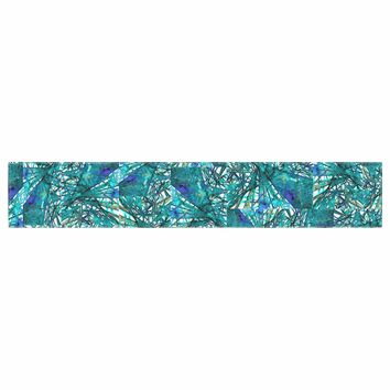 """Ebi Emporium """"New Directions, Peacock Cool"""" Teal Blue Pattern Geometric Mixed Media Painting Table Runner"""
