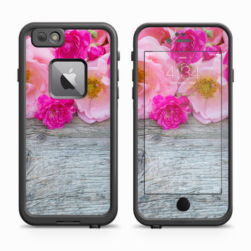 Pink and Fuschia Flowers on Aged Gray Oak Skin for the Apple iPhone LifeProof Fre Case