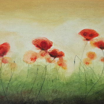 Small Poppy Painting, Original Acrylic Painting Red Poppies Flower, Canvas Panel, Small Art, Poppies Field by Dorota Polland