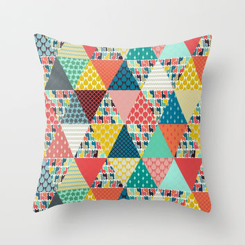 llama geo triangles Throw Pillow by Sharon Turner