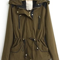 Slim Waist Line Splicing Uniform Padded Jacket,Cheap in Wendybox.com