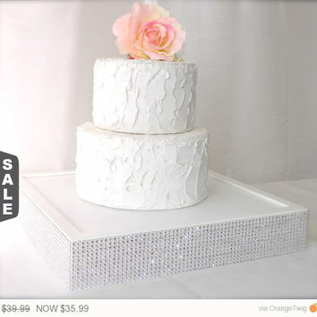10% off - ends 5pm White Wedding Cake Stand trimmed with a rhinestone wrap (14 x 14 x 2.5)