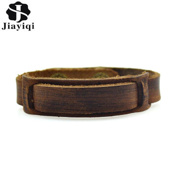 Handmade Vintage Braided Genuine Leather Bracelets Fashion Brown Punk Bracelets & Bangles for Women Men Jewerly Accessory 2015