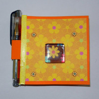 Flower Post It Note Holder with Magnet and Pen