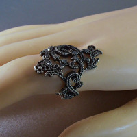 Sterling Marcasite Ring, Art Deco Filigree Knuckle Length