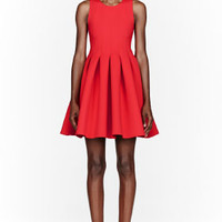 RED NEOPRENE PLEATED DRESS