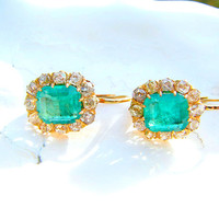 Lovely Antique Emerald Diamond Halo Earrings, Old Mine Cut Diamonds, Bright Green Emerald Cut Emeralds, 3.40 ctw, Very Elegant Ear Pendants